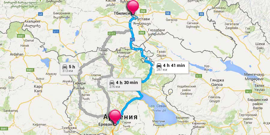 Map How to get to Tbilisi from Yerevan